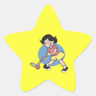 Jugador del chica del hockey hierba pegatina en forma de estrella