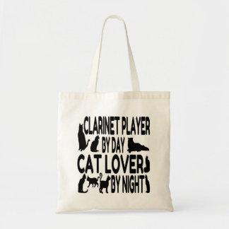 Jugador del Clarinet del amante del gato Bolsas Lienzo