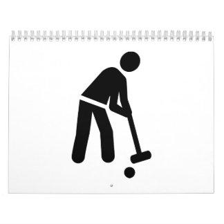 Jugador del croquet calendarios de pared