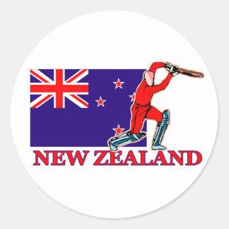 Jugador del grillo de Nueva Zelanda Pegatina Redonda