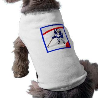 Jugador del hockey sobre hielo camiseta de perro