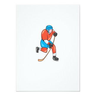 Jugador del hockey sobre hielo con el dibujo invitaciones personalizada