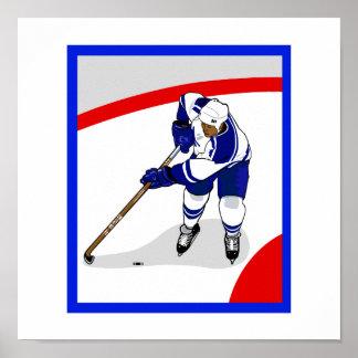 Jugador del hockey sobre hielo póster