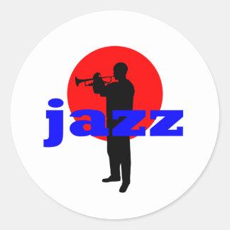 Jugador del jazz pegatina redonda