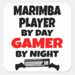 Jugador del Marimba del videojugador Calcomanía Cuadrada