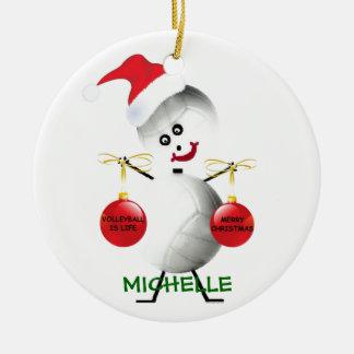Jugador del navidad del voleibol adorno navideño redondo de cerámica