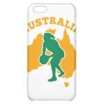 Jugador del Netball que pasa el mapa de Australia