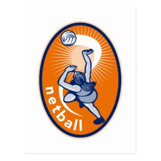 Jugador del Netball que rebota para la bola Tarjeta Postal