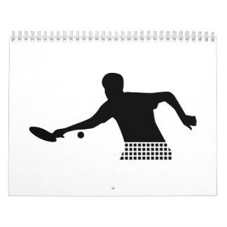 Jugador del ping-pong calendario de pared