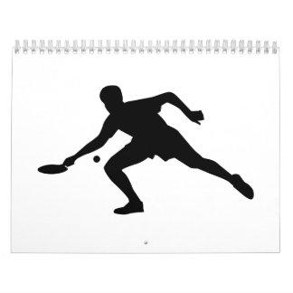 Jugador del ping-pong calendarios de pared
