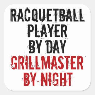Jugador del Racquetball de Grillmaster Calcomanía Cuadrada