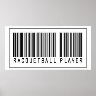 Jugador del Racquetball del código de barras Poster