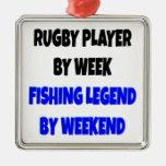 Jugador del rugbi de la leyenda de la pesca adorno de reyes