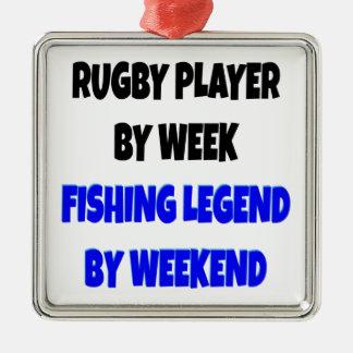 Jugador del rugbi de la leyenda de la pesca adorno cuadrado plateado