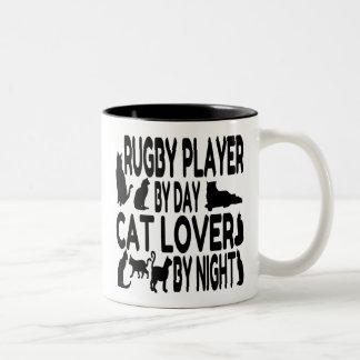 Jugador del rugbi del amante del gato taza de café de dos colores