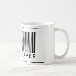 Jugador del rugbi del código de barras taza de café