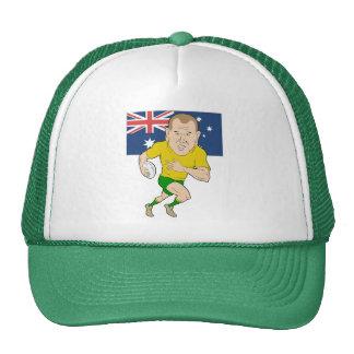 Jugador del rugbi que corre con la bandera de Aust Gorro