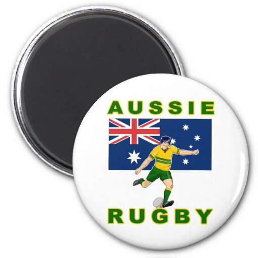 Jugador del rugbi que golpea la bandera de Austral Imanes De Nevera