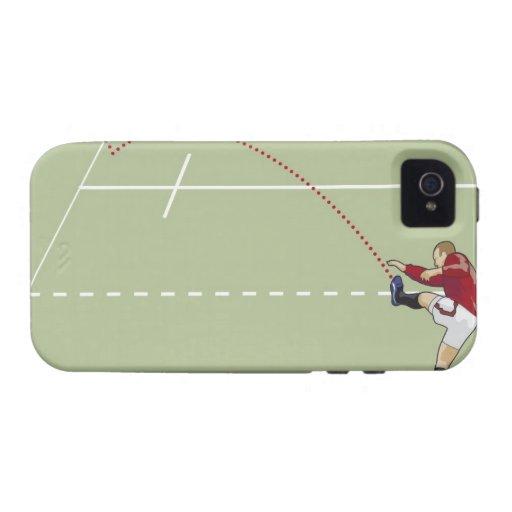 Jugador del rugbi que golpea la bola con el pie en vibe iPhone 4 carcasas