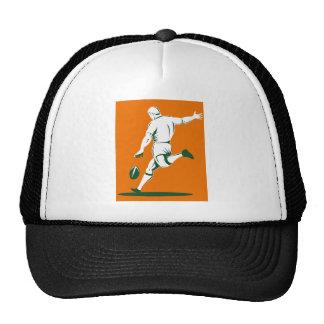 jugador del rugbi que golpea la bola con el pie gorros bordados
