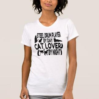 Jugador del tambor de acero del amante del gato camiseta
