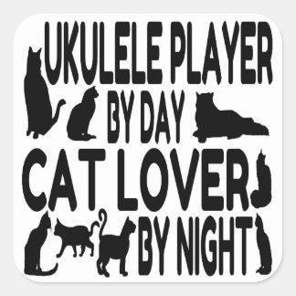 Jugador del Ukulele del amante del gato Pegatina Cuadrada