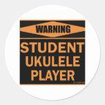 Jugador del Ukulele del estudiante Pegatina Redonda