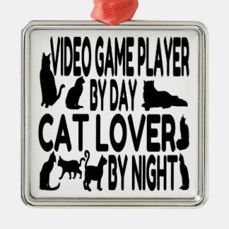Jugador del videojuego del amante del gato ornamente de reyes
