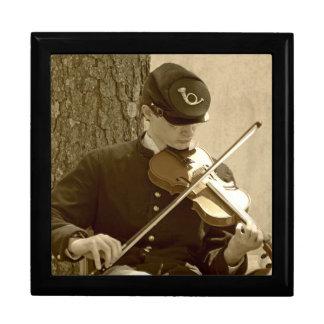 Jugador del violín de la guerra civil joyero cuadrado grande
