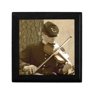 Jugador del violín de la guerra civil joyero cuadrado pequeño