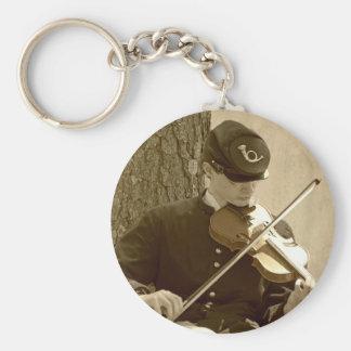 Jugador del violín de la guerra civil llavero redondo tipo pin