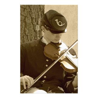 Jugador del violín de la guerra civil papelería personalizada