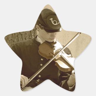 Jugador del violín de la guerra civil pegatina en forma de estrella
