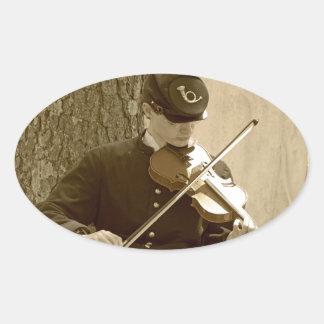 Jugador del violín de la guerra civil pegatina ovalada