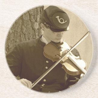 Jugador del violín de la guerra civil posavasos cerveza