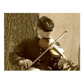 Jugador del violín de la guerra civil tarjeta postal