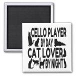 Jugador del violoncelo del amante del gato iman para frigorífico