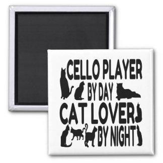 Jugador del violoncelo del amante del gato imán cuadrado