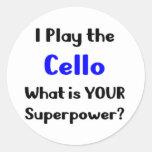 Jugador del violoncelo pegatina redonda