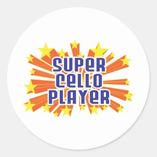 Jugador estupendo del violoncelo pegatina redonda