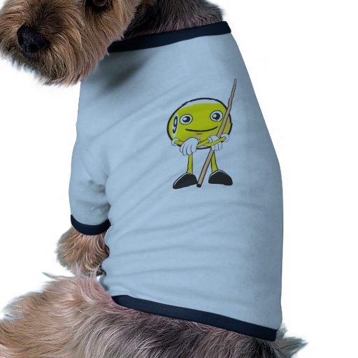 Jugador feliz de la bola del billar nueve camiseta con mangas para perro