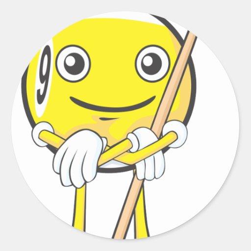 Jugador feliz de la bola del billar nueve pegatina redonda