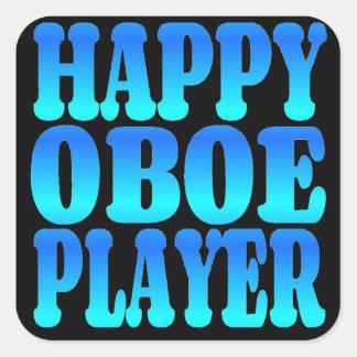Jugador feliz de Oboe en azul Pegatinas Cuadradas Personalizadas