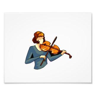 Jugador femenino abstracto del violín en imagen az arte con fotos