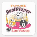 Jugador futuro de la piscina - rosa calcomanías cuadradass personalizadas