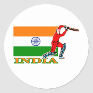 Jugador indio del grillo etiqueta redonda