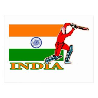 Jugador indio del grillo postal