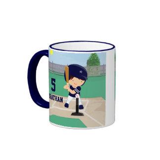 Jugador lindo personalizado del dibujo animado del tazas de café