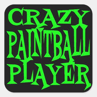 Jugador loco de Paintball Pegatina Cuadrada