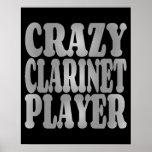 Jugador loco del Clarinet en plata Póster